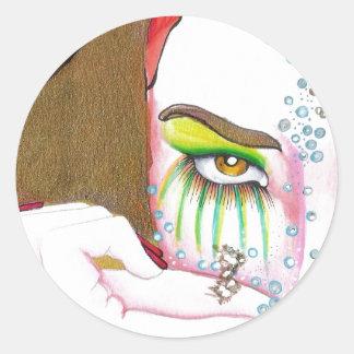 Retrato de oro del chica del aroma pegatina redonda