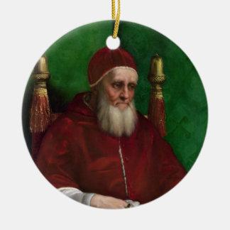 Retrato de papa Julio II por el ornamento de Adorno Navideño Redondo De Cerámica
