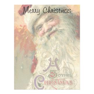Retrato de Papá Noel del Victorian, navidad feliz Membretes Personalizados
