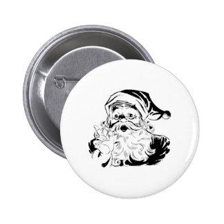Retrato de Papá Noel del vintage que sacude el ded Pin