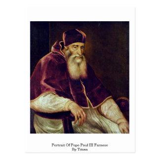 Retrato de papa Paul Iii. Farnese por Titian Tarjetas Postales