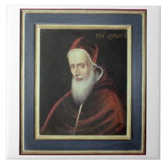Retrato de papa Pío V (1504-72) (aceite en lona) Azulejo Cuadrado Grande