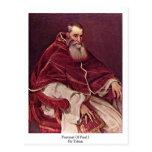 Retrato de Paul Iii. Por Titian Tarjeta Postal