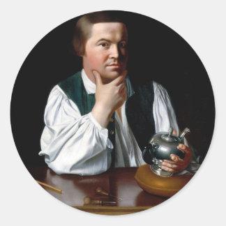 Retrato de Paul Revere Pegatina Redonda