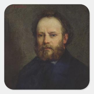 Retrato de Pedro José Proudhon 1865 Pegatina Cuadrada