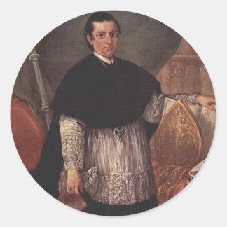 Retrato de Pedro Longhi- de Benedetto Ganassoni Etiquetas Redondas