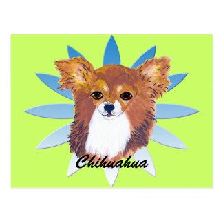 Retrato de pelo largo del ~ de la chihuahua tarjetas postales