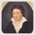 Retrato de Percy Bysshe Shelley, 1819 Pegatina Cuadrada