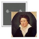 Retrato de Percy Bysshe Shelley, 1819 Pin Cuadrada 5 Cm