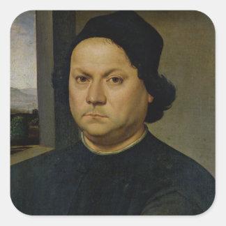 Retrato de Perugino, c.1504 (tempera en la madera) Calcomanías Cuadradass Personalizadas