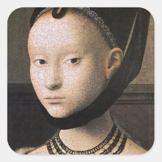 Retrato de Petrus Christus de una mujer joven Pegatina Cuadrada