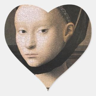 Retrato de Petrus Christus de una mujer joven Pegatina En Forma De Corazón