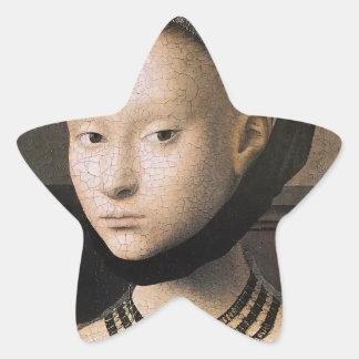 Retrato de Petrus Christus de una mujer joven Pegatina En Forma De Estrella