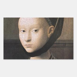 Retrato de Petrus Christus de una mujer joven Pegatina Rectangular