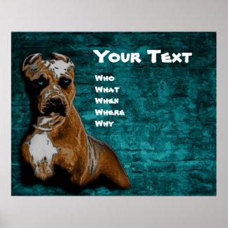 Retrato de Pitbull Terrier del americano del Grung Posters
