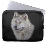 Retrato de plata de la fauna del lobo gris fundas ordendadores