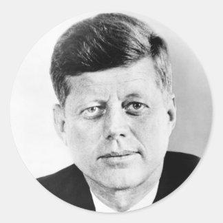 Retrato de presidente John F. Kennedy Pegatinas Redondas