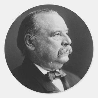 Retrato de presidente Stephen Grover Cleveland Etiquetas Redondas