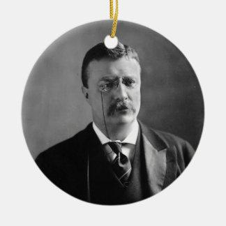 Retrato de presidente Theodore Roosevelt de los Adorno Navideño Redondo De Cerámica