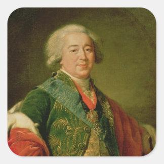 Retrato de príncipe Alexander Borisovich Kurakin Calcomania Cuadrada Personalizada
