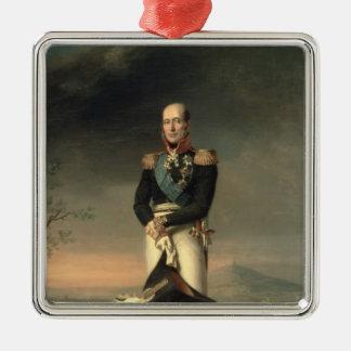 Retrato de príncipe Mikhail Barclay de Tolly Adorno Cuadrado Plateado