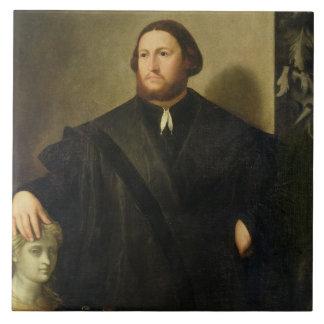 Retrato de Raphaele Grassi (aceite en lona) Azulejo Cuadrado Grande