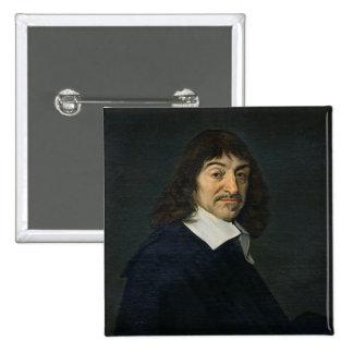 Retrato de Rene Descartes c.1649 Pin Cuadrado