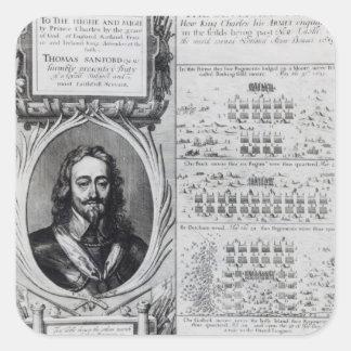 Retrato de rey Charles I con los diagramas Pegatina Cuadrada
