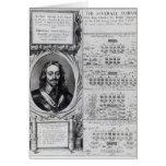 Retrato de rey Charles I con los diagramas Felicitación