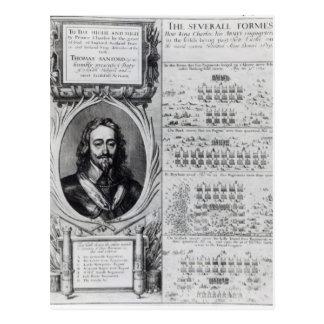 Retrato de rey Charles I con los diagramas Tarjeta Postal