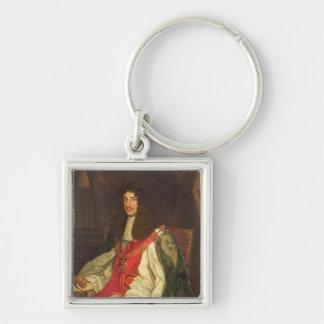 Retrato de rey Charles II, c.1660-65 Llavero Cuadrado Plateado