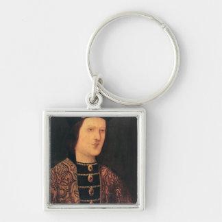 Retrato de rey Edward IV de Inglaterra Llavero Cuadrado Plateado