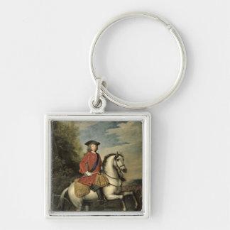 Retrato de rey George I, 1717 Llavero Cuadrado Plateado