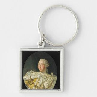 Retrato de rey George III después de 1760 Llavero Cuadrado Plateado