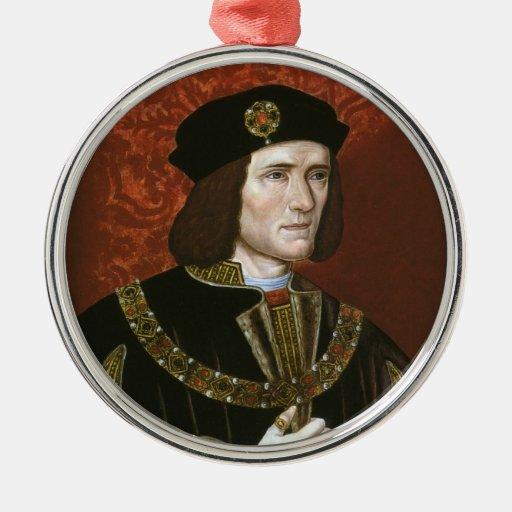 Retrato de rey inglés Richard III Adorno Redondo Plateado
