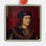 Retrato de rey Richard III Adorno Cuadrado Plateado