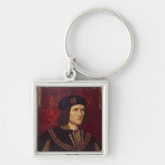 Retrato de rey Richard III Llavero Cuadrado Plateado