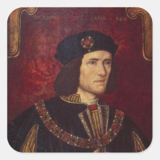Retrato de rey Richard III Pegatina Cuadrada