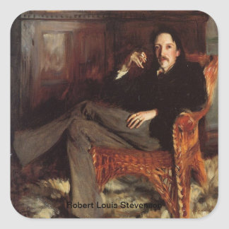 Retrato de Robert Louis Stevenson Pegatina Cuadrada