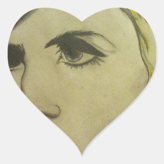 Retrato de rubio pegatina en forma de corazón