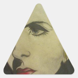 Retrato de rubio pegatina triangular