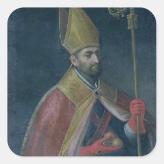 Retrato de San Nicolás, 1700 (aceite en lona) Pegatina Cuadrada