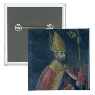 Retrato de San Nicolás, 1700 (aceite en lona) Pin Cuadrada 5 Cm