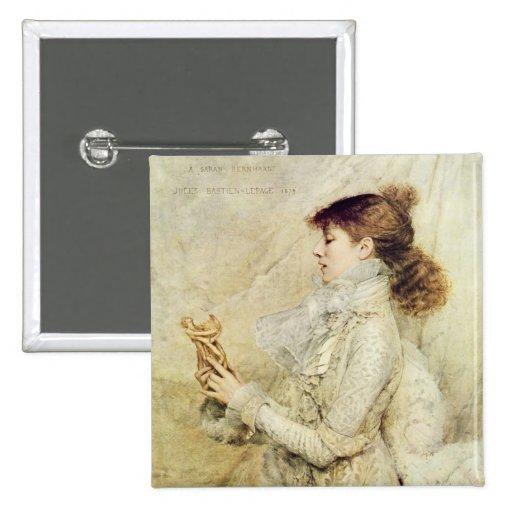 Retrato de Sarah Bernhardt Pin Cuadrada 5 Cm