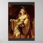 Retrato de Saskia como flora de Rembrandt Harmensz Poster