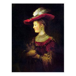 Retrato de Saskia de Rembrandt Tarjeta Postal