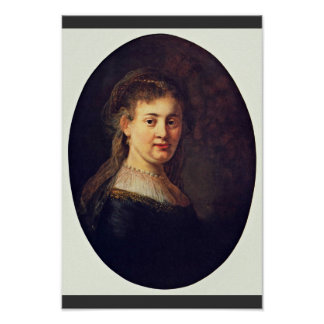 Retrato de Saskia Van Uylenburgh. Por Rembrandt Poster