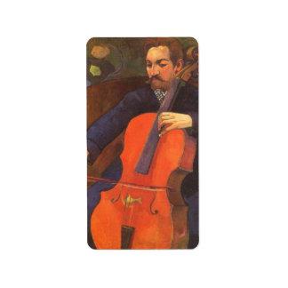 Retrato de Schneklud del jugador, Gauguin, arte Etiquetas De Dirección
