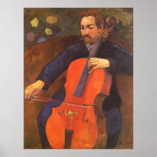Retrato de Schneklud del jugador, Gauguin, arte Posters