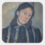 Retrato de señora Cezanne con el pelo aflojado, Calcomanías Cuadradas Personalizadas